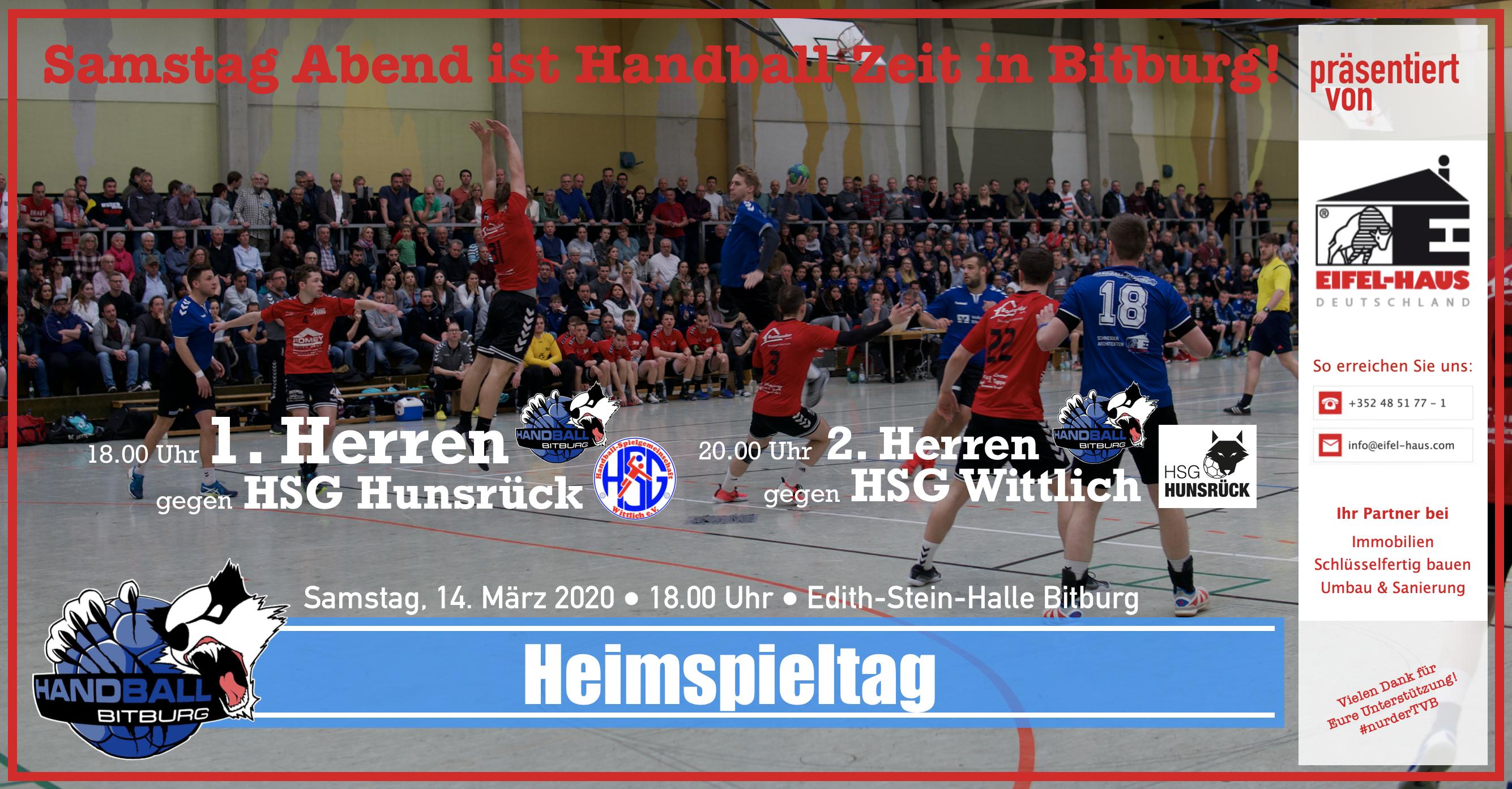 Eifelhaus-Heimspieltag: 1. Herren gegen HSG Hunsrück – der Vorbericht