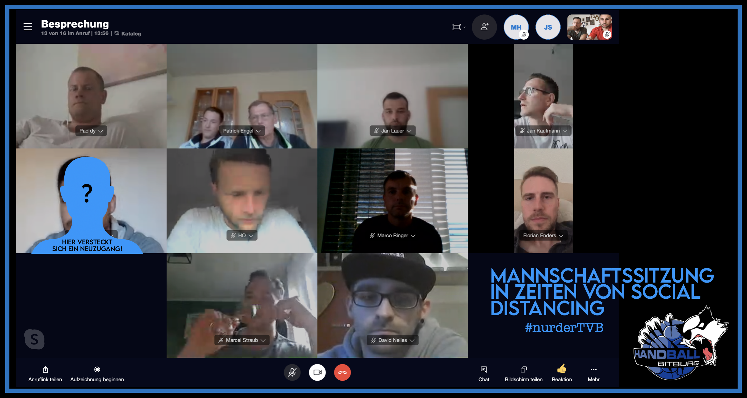 Virtuelle Mannschaftssitzung unserer 1. Herren Mannschaft