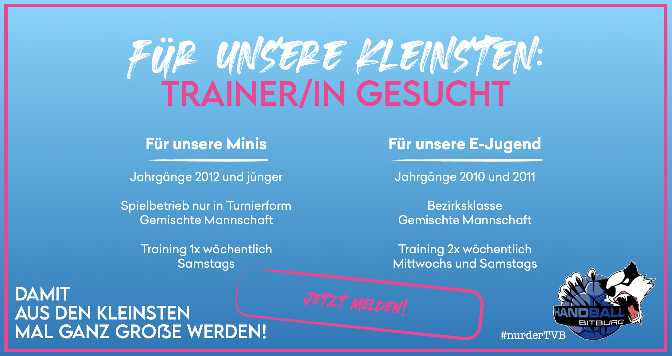Trainer/in gesucht für unsere Minis und E-Jugend