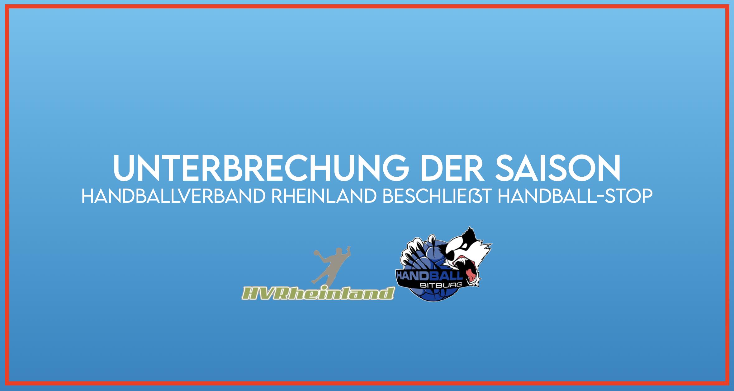 HVR unterbricht die Handball-Saison