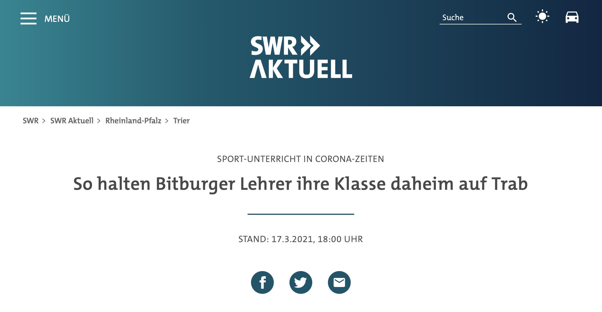 SWR Aktuell berichtet über die Home-Workouts von Marc Ernst & Philipp Kesse